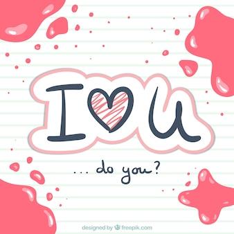 Eu te amo escrito à mão