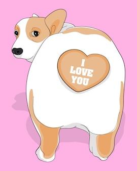 Eu te amo, ilustração corgi bonito de mão desenhada