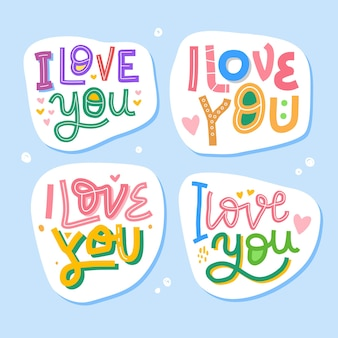 Eu te amo letras desenhadas à mão, citações inspiradoras e motivacionais