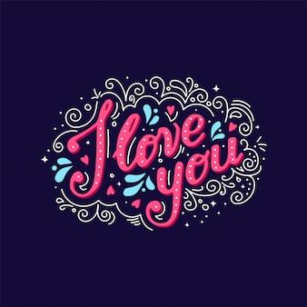 Eu te amo letras mão desenho
