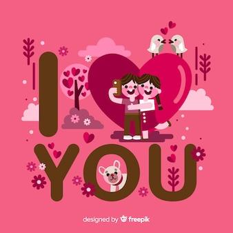 Eu te amo, lettering romântico