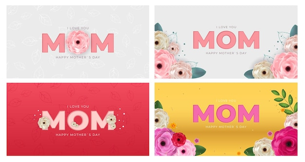 Eu te amo mãe feliz dia das mães conjunto de banner
