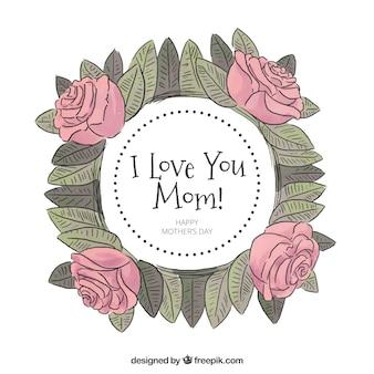 Eu te amo mãe fundo aquarela