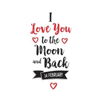 Eu te amo para a lua e letras traseiras