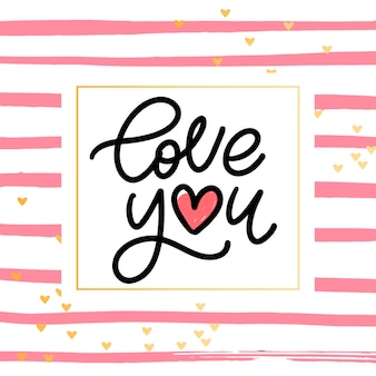 Eu te amo. valentim slogan. letras de escova moderna manuscritas.