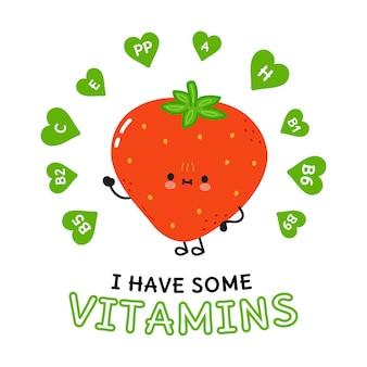 Eu tenho um cartão de vitaminas com morango feliz fofo