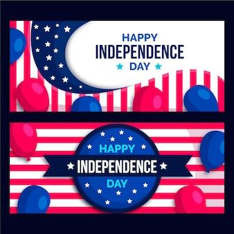 Eua 4 de julho banners de balões vermelhos e azuis