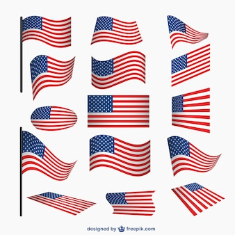Eua conjunto bandeiras vetor