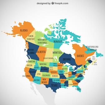 Eua e do canadá mapa