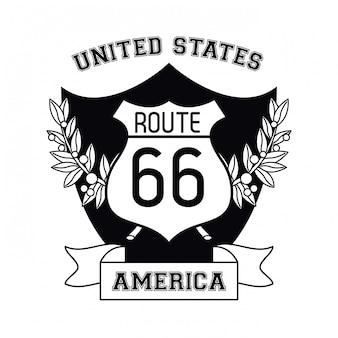 Eua emblema rota 66 sinal e fita banner vector design gráfico ilustração
