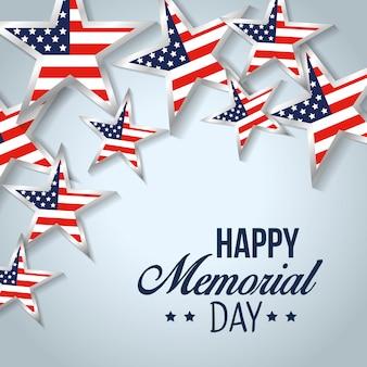 Eua estrelas bandeira para o dia do memorial