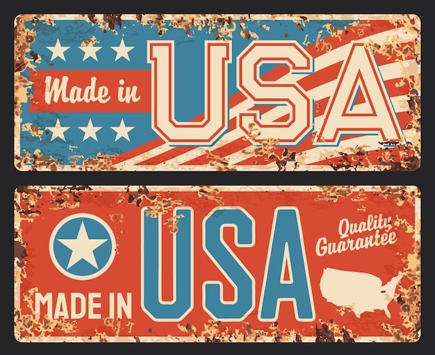 Eua feito, placa de metal com bandeira da américa enferrujada