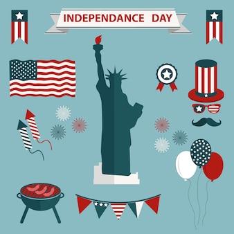 Eua ícones dia da independência colelction