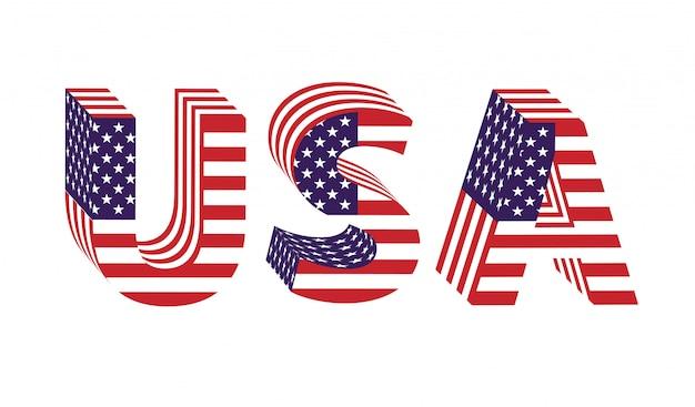 Eua letras 3d da bandeira