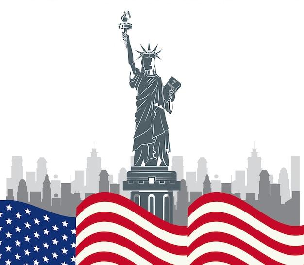 Eua, liberdade, estátua, ny, cidade