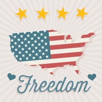 Eua rótulo de liberdade com estrelas de mapa e corações em fundo vintage