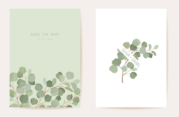 Eucalipto em aquarela, cartão de casamento floral de ramos de folha verde. convite tropical das folhas do vetor. quadro de modelo boho. capa de folhagem botânica save the date, pôster de design moderno
