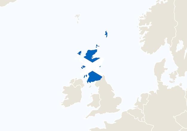 Europa com o mapa da escócia destacado. ilustração vetorial.