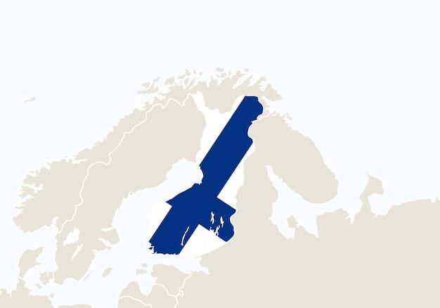 Europa com o mapa da finlândia em destaque. ilustração vetorial.