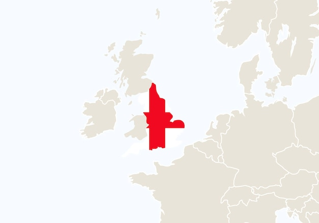Europa com o mapa da inglaterra em destaque. ilustração vetorial.