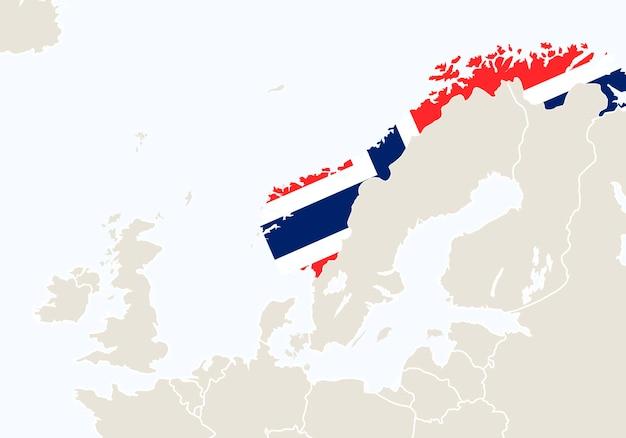 Europa com o mapa da noruega em destaque. ilustração vetorial.