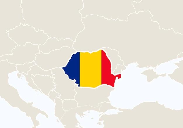 Europa com o mapa da romênia em destaque. ilustração vetorial.