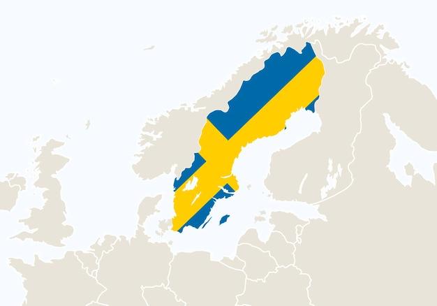 Europa com o mapa da suécia em destaque. ilustração vetorial.