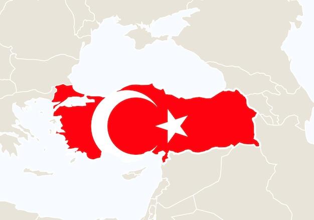 Europa com o mapa da turquia em destaque. ilustração vetorial.