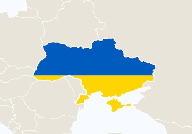 Europa com o mapa da ucrânia em destaque. ilustração vetorial.