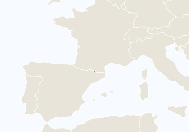 Europa com o mapa de andorra em destaque. ilustração vetorial.