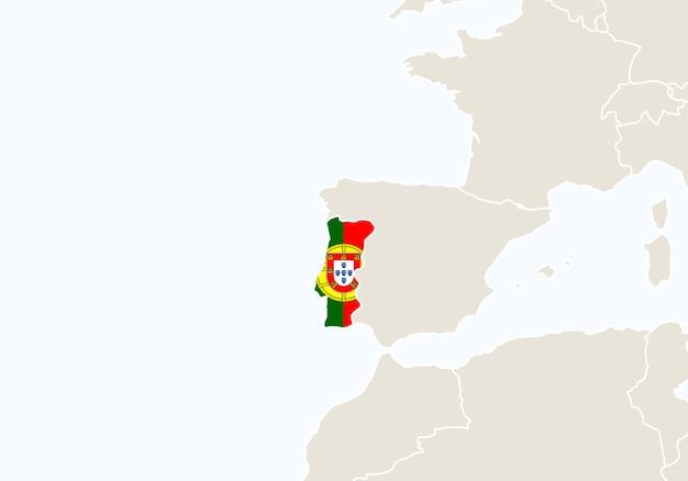 Europa com o mapa de portugal em destaque. ilustração vetorial.