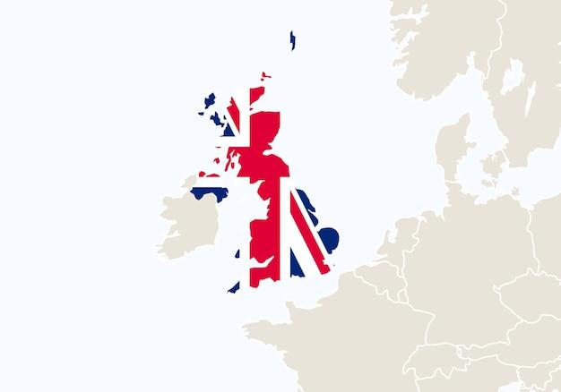 Europa com o mapa do reino unido em destaque. ilustração vetorial.