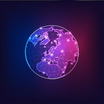 Europa na opinião do globo da terra do espaço com sumário dos continentes esboça.