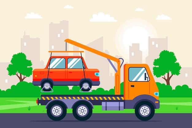 Evacuação de um carro com um guindaste de caminhão de reboque em uma rua da cidade. ilustração plana.