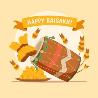 Evento baisakhi feliz desenhados à mão