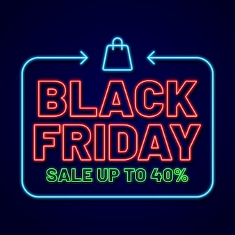 Evento black friday em estilo neon