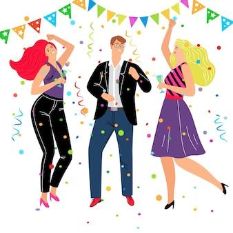 Evento corporativo amigável. grupo de amigos dos desenhos animados comemorando e dançando em trajes da moda de negócios, conceito de ilustração vetorial de entretenimento com danças e descanso feliz