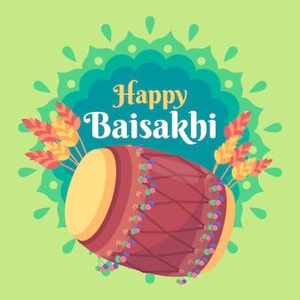 Evento de baisakhi feliz design plano