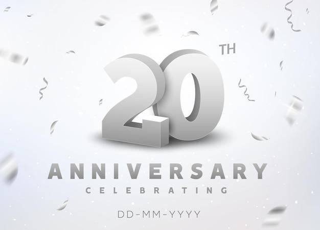 Evento de celebração de aniversário de número de prata de 20 anos. projeto de cerimônia de banner de aniversário para 20 anos de idade.