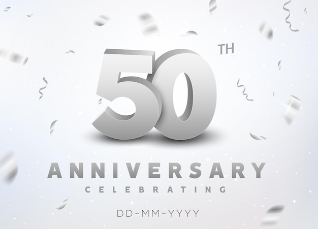 Evento de celebração de aniversário de número de prata de 50 anos. projeto de cerimônia de banner de aniversário para 50 anos.