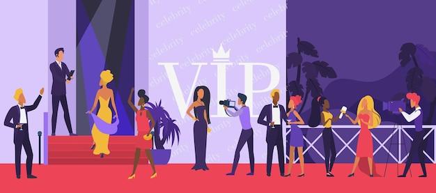 Evento de cerimônia de festa vip com celebridades no tapete vermelho com super estrelas