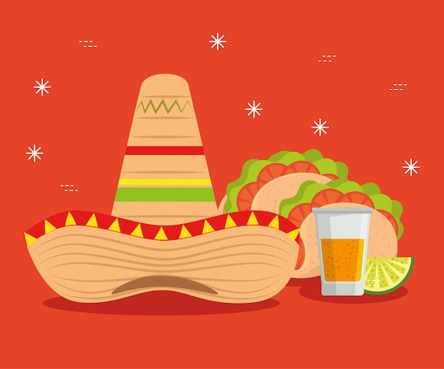 Evento de chapéu com tacos e tequila para o méxico