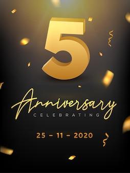 Evento de comemoração do aniversário de 5 anos. aniversário de vetor dourado ou aniversário de parabéns da festa de casamento.