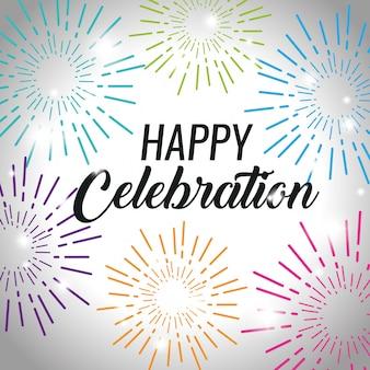 Evento de comemoração feliz com decoração de fogos de artifício