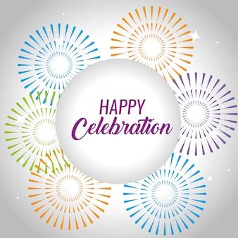 Evento de comemoração feliz com entretenimento de fogos de artifício