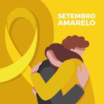 Evento de conscientização sobre suicídio ilustrado com amigos se abraçando