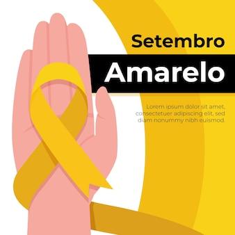 Evento de conscientização sobre suicídio ilustrado com fita amarela