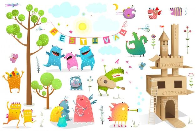 Evento de conto de fadas engraçado para crianças brincando com clip-art castelo de papelão.