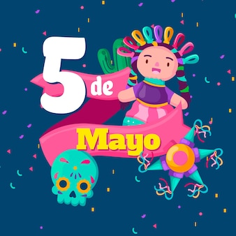 Evento de design plano cinco de maio