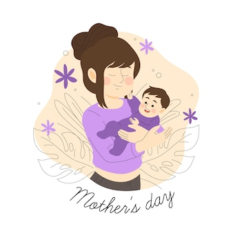 Evento de dia das mães estilo mão desenhada